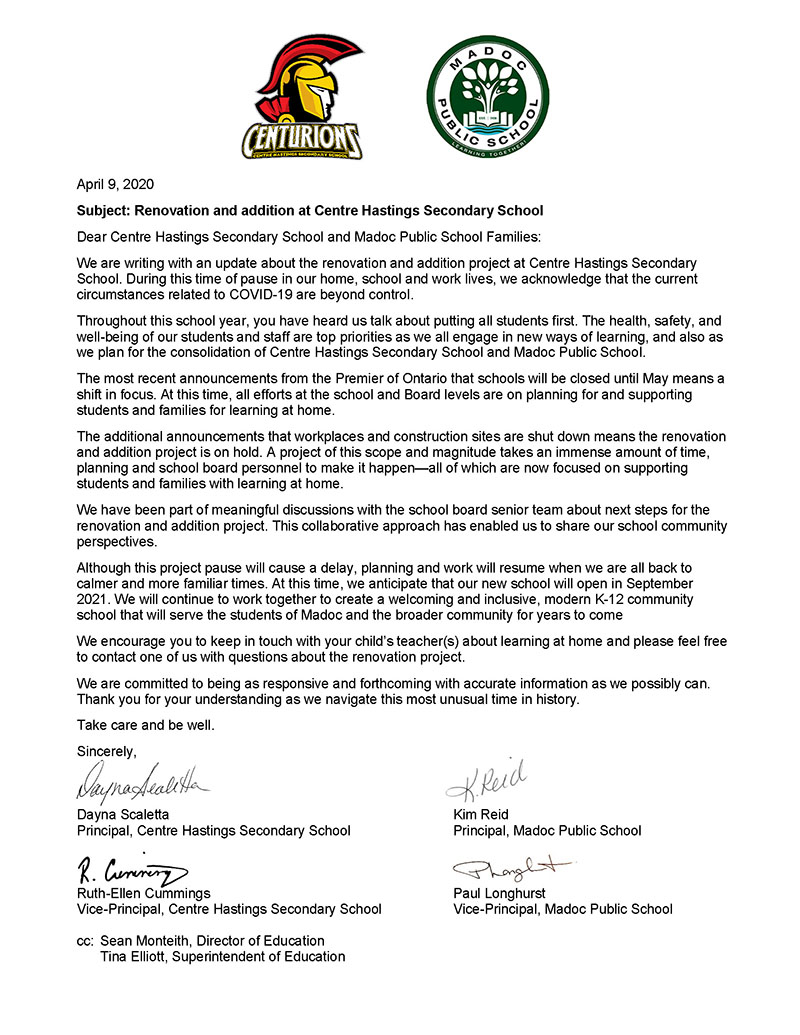 Letter to CHSS and Madoc PS community apr9 2020web